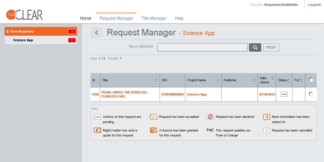 PLSclear Request Manager